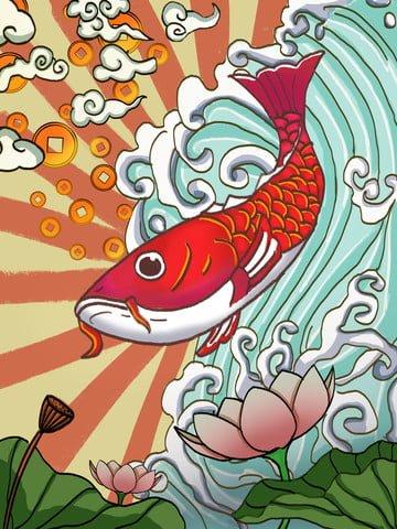 Koi transshipment tide man cartoon style original hand-painted illustration, Koi, Blessing, Tide Cartoon illustration image
