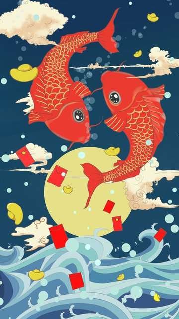 koi transporting tide cartoon llustration image