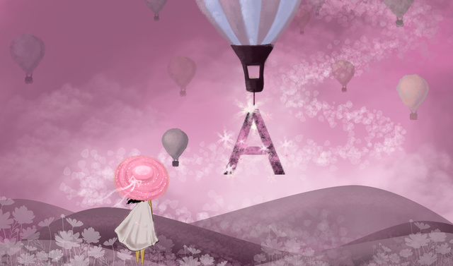 letter Pink sky hot air balloon, Girl, Cure, Mountain illustration image