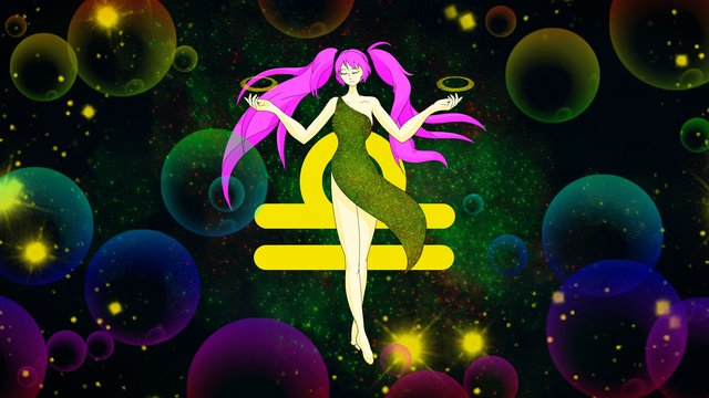 Original small fresh illustration libra, Libra, Double Tail, Starry Sky illustration image