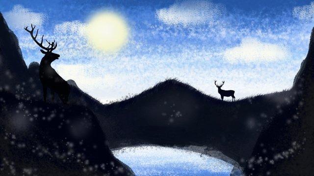 rusa melihat ke langit di puncak gunung imej keterlaluan imej ilustrasi