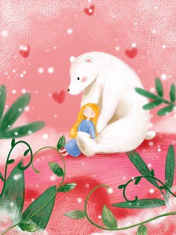 小さな女の子とかわいい治療シロクマ イラストレーション画像