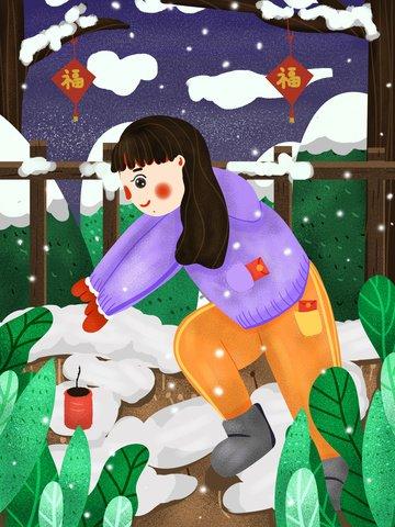 Cute illustration small fresh flat wind beautiful girl put firecrackers llustration image illustration image