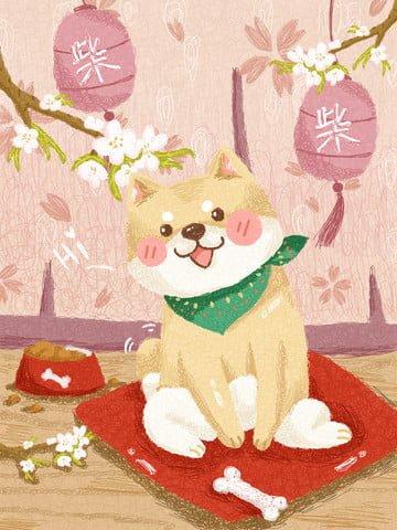 Зефир милая иллюстрация катушки shiba inu Иллюстрация изображения