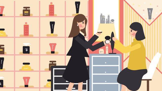 Cosmetic skin care beauty shopping guide scene illustration llustration image