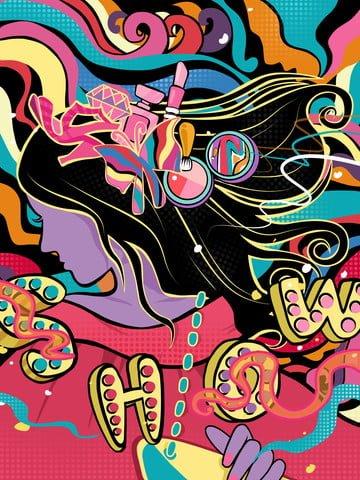 original mobile candy color illustration fashion promotion poster llustration image