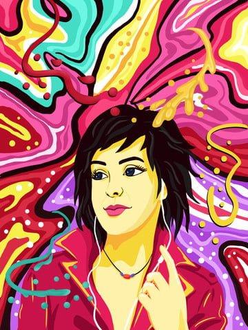 बहती हुई कैंडी रंग सुन संगीत लड़की चित्रणमोबाइल  कैंडी  रंग पीएनजी और PSD illustration image