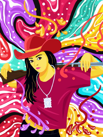 Flowing candy colored scorpion gun girl illustration, Mobile Candy Color, Flowing Color, Candy Colors illustration image
