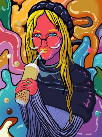 Mobile candy color drinking tea girl illustration, Mobile Candy Color, Girl Drinking Milk Tea, Illustration illustration image