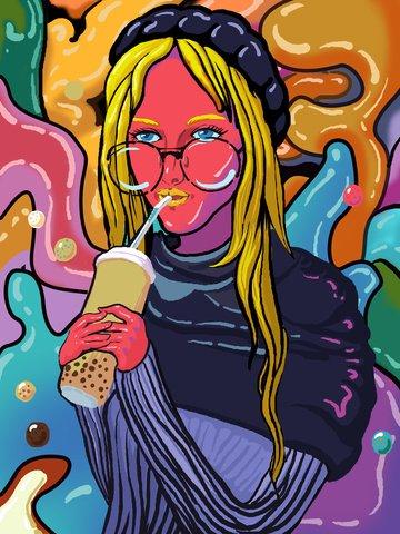 मोबाइल कैंडी रंग पीने चाय लड़की चित्रण चित्रण छवि