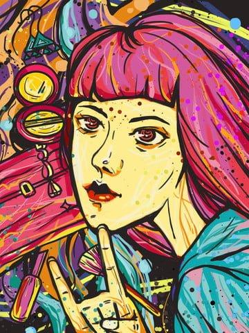 मोबाइल कैंडी रंग लड़की के सौंदर्य प्रसाधन दृश्य चित्रण चित्रण छवि