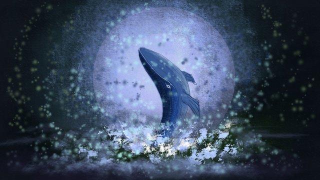 whale dream healing fluorescence تحت ضوء القمر صورة llustration صورة التوضيح