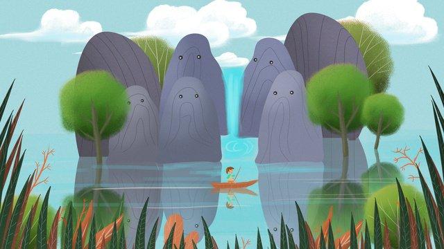 산 이야기 물 풍경 복고풍 질감 일러스트 레이션 삽화 소재 삽화 이미지
