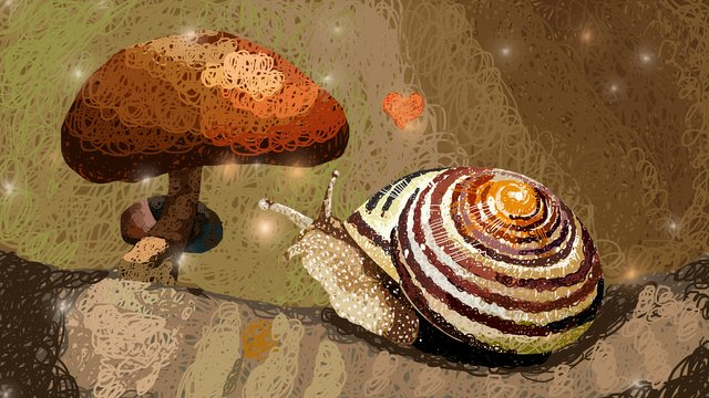 Mushroom and snail coil illustration cure system, Mushroom, Snails, Love illustration image