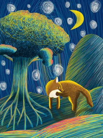 Fox coil illustration in the night of healing, Night, Tree, Mountain illustration image