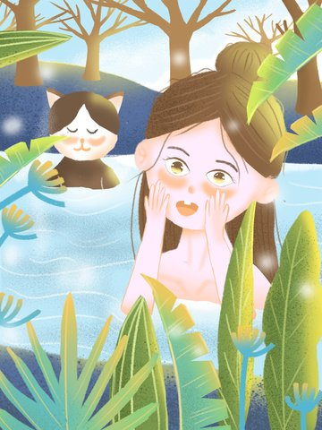 winter hello girl hot spring fresh illustration llustration image illustration image