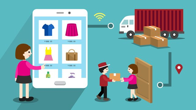 online shopping e commerce process flat style illustration llustration image illustration image