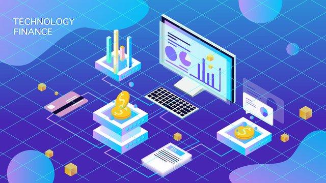 Artificial intelligence 2.5d transaction virtual illustration, Original, Business Illustration, Wallpaper Poster illustration image