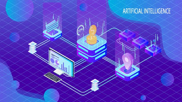 Artificial intelligence 2.5d virtual trading platform illustrator, Original, Business Illustration, Wallpaper Poster illustration image