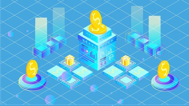 Artificial intelligence 2.5d virtual coin platform illustrator, Original, Business Illustration, Wallpaper Poster illustration image