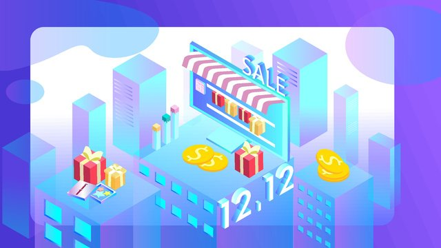 Double 12 shopping festival 2.5d virtual scene illustrator, Original, Business Illustration, Wallpaper Poster illustration image