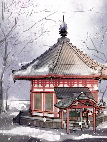 Original chinese style retro building illustration, Original, Chinese Style, Retro illustration image