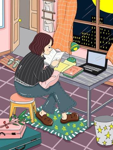 original quatro ou seis nível revisão preparação tarde da noite aprendendo cartoon ilustração Imagens de ilustração