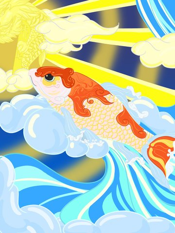 original illustration koi transport dragon gantry llustration image