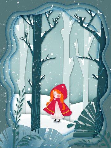 menina cortando papel vento em bosques nevados Material de ilustração