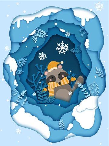 raccoon trong lễ hội tuyết cắt giấy Hình minh họa Hình minh họa
