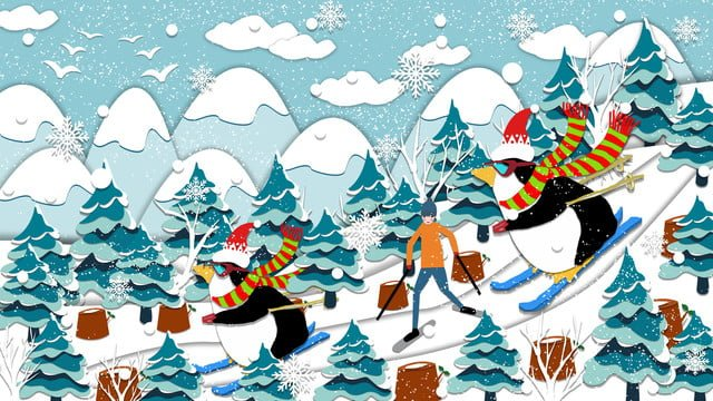 paper cut wind penguin skiing on the big mountain illustration llustration image illustration image