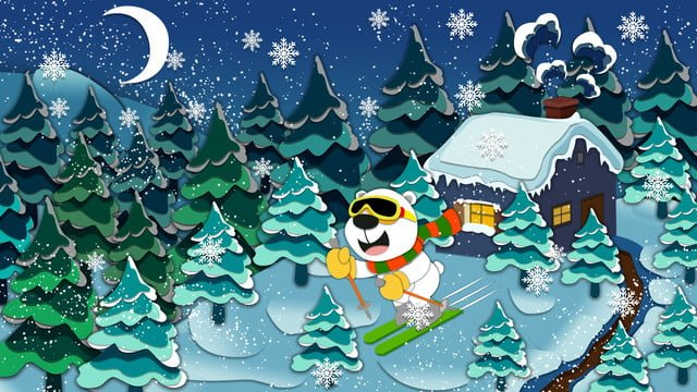 paper cut wind bear cubs on the big mountain skiing illustration llustration image illustration image