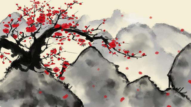 Chinese style plum blossom landscape wallpaper petals falling red bright flowers, Phone Wallpaper, Wallpaper, Classical illustration image
