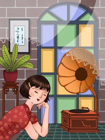 Republic of china wind retro girl listening to phonograph, Republic Of China, Retro, Female Wearing Cheongsam illustration image