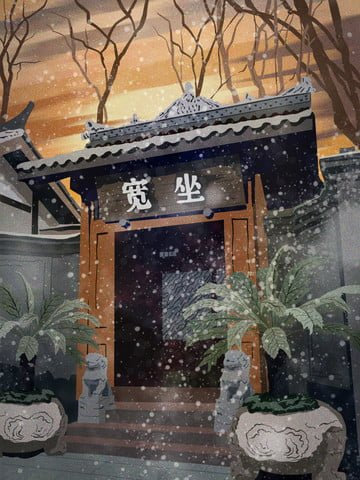 vintage architecture sitting in an ancient house beautiful scenery winter llustration image