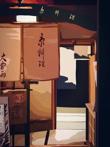 레트로 건축 북경 요리 일식 레스토랑 삽화 소재