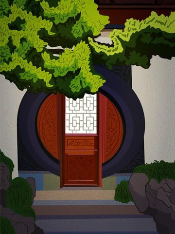 Retro ancient antiquity pine, Round Door, Sandalwood, Rockery illustration image