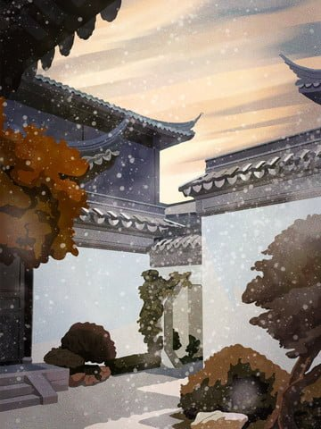 retro building emblem ancient architecture pine backyard beautiful winter llustration image