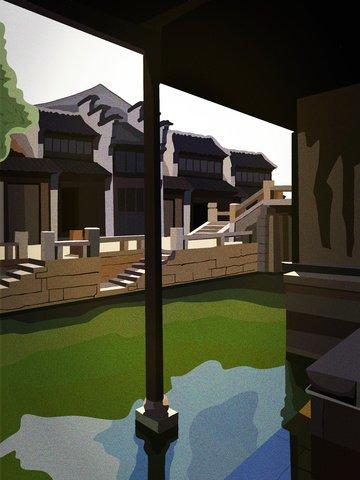 レトロな建物、江南水上村、美しい風景の建築様式 イラスト画像