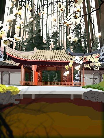 복고풍 건물 고대 궁전 뒷마당 kapok 아름다운 풍경 삽화 소재