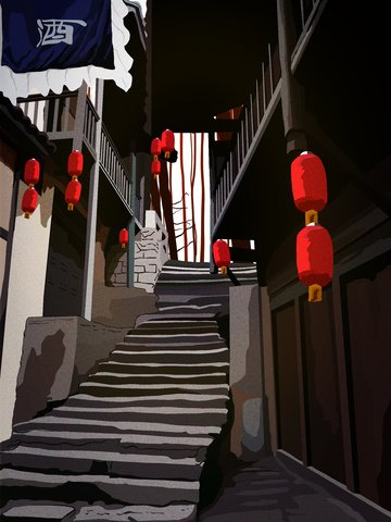 chinese ancient inn restaurant celebration festival in retro architecture llustration image