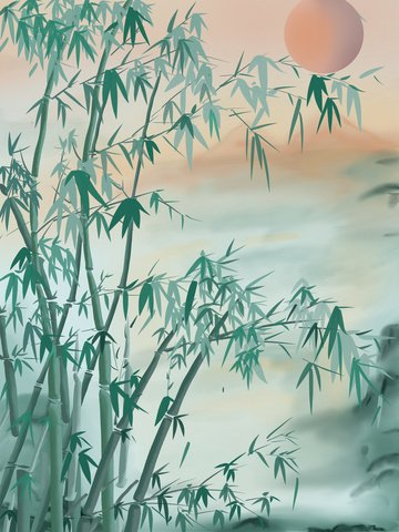 Vintage chinese style ink illustration landscape painting bamboo, Retro Chinese Style, Ink Painting, Landscape Painting illustration image
