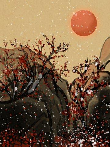 復古水墨冬季岩石邊的梅花 插畫素材