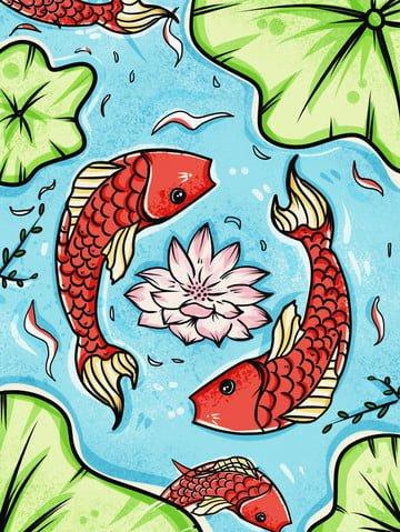 復古錦鯉開運水塘運程祈福過年招貼夏季 插畫素材