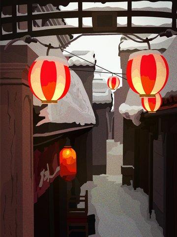 रेट्रो बिल्डिंग प्राचीन शहर त्योहार लाल लालटेन सुंदर बर्फ दृश्य चित्रण छवि