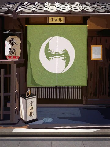 japanese architecture ancient house tsuda cuisine llustration image