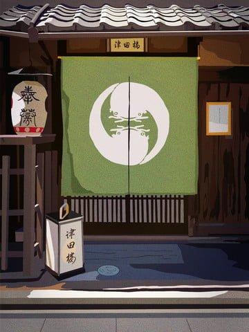 日本建築、古代の家、津田、日本料理 イラスト素材