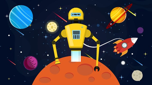 Artificial intelligence robot planet landing, Robot, Planet, Landing illustration image