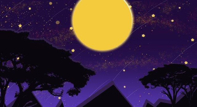 malam langit bulan galaxy ungu kertas dinding telefon bimbit asal imej keterlaluan