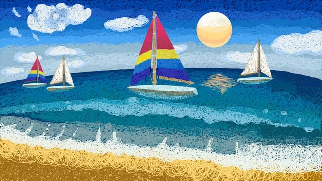 Sea and sailboat coil illustration cure system, Sailboat, Moon, Sky illustration image